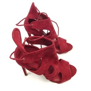 Topshop Reveal red suede cutaway lace up heels